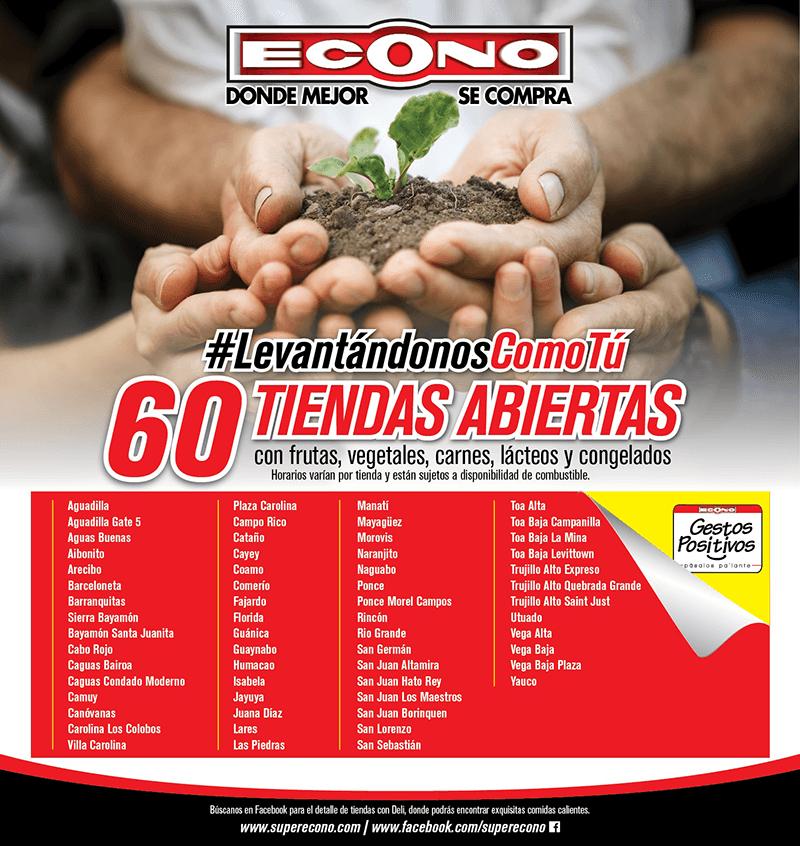 60 tiendas abiertas