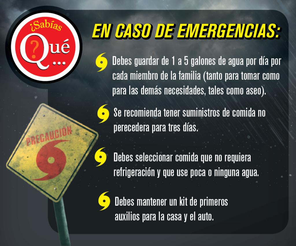 Preparativos en caso de emergencias