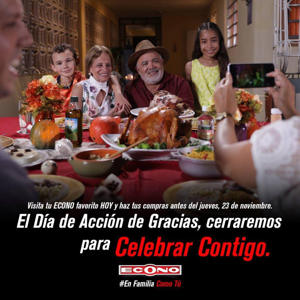 El día de Acción de Gracias, cerraremos para Celebrar Contigo.