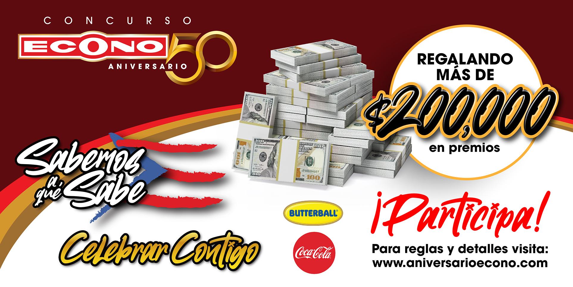 Concurso 50 Aniversario con más de $200,000 en premios.